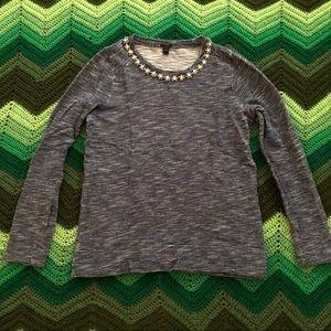 J. Crew Tops - JCrew marled sweatshirt jeweled neckline navy